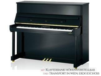 Bechstein CLASSIC 124SP Piano, schwarz poliert. Premium Set: inkl. Lieferung Raum Wien Erdgeschoß und Klavierbank höhenverstellbar