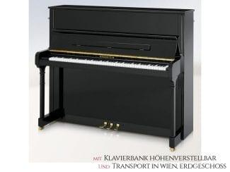 Bechstein A124 STYLE Piano schwarz poliert, Premium Set: inkl. Lieferung Raum Wien Erdgeschoß und Klavierbank höhenverstellbar