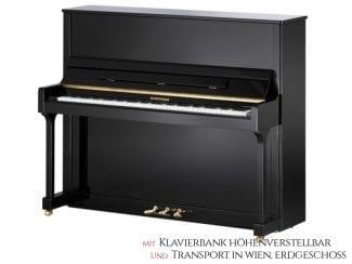 W.Hoffmann T128SP Piano, schwarz poliert, 128cm, Premium Set: inkl. Lieferung Raum Wien Erdgeschoß und Klavierbank höhenverstellbar